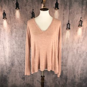 Madewell pink/Peach V-neck Tee size M